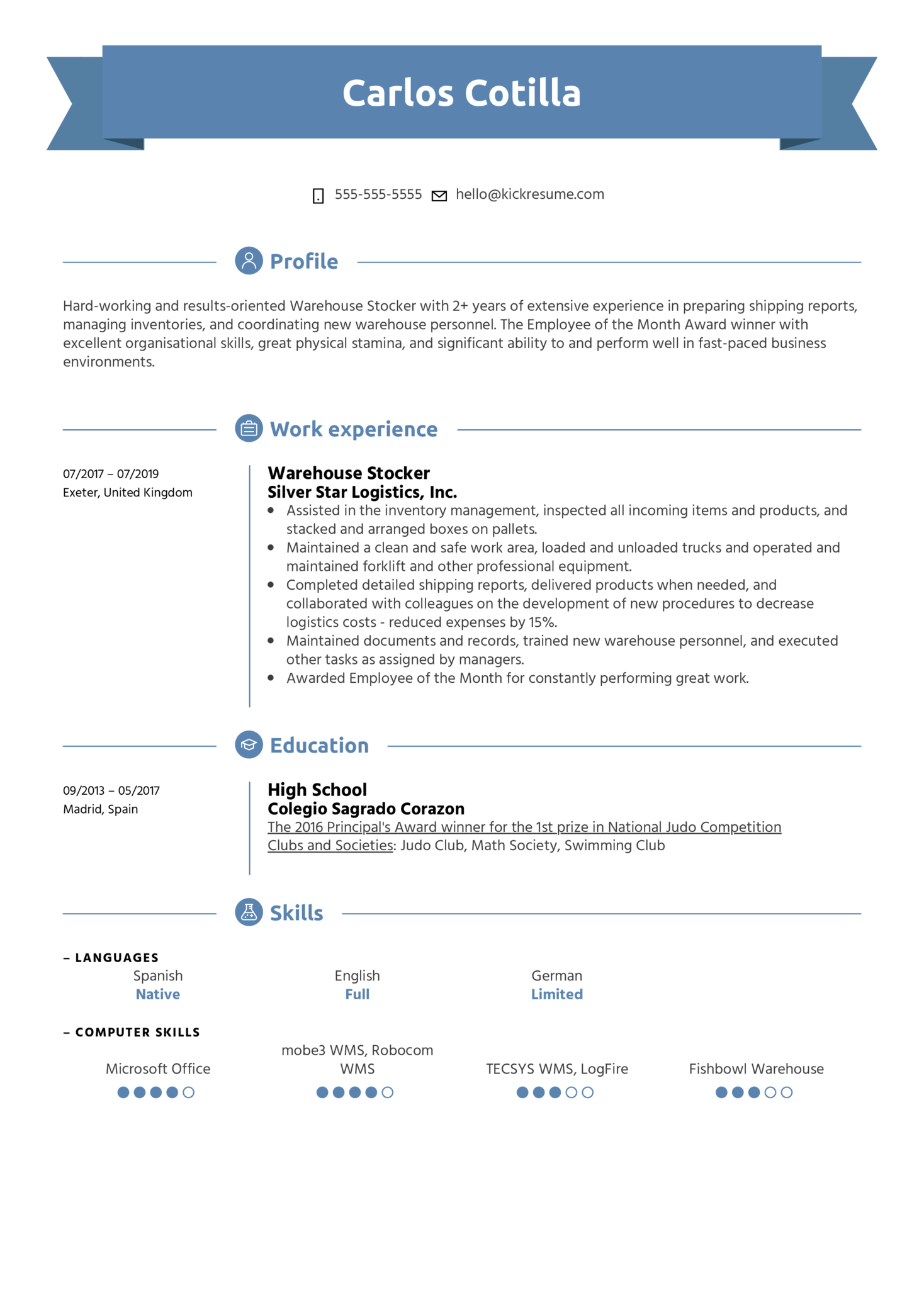 Warehouse Stocker Resume Sample