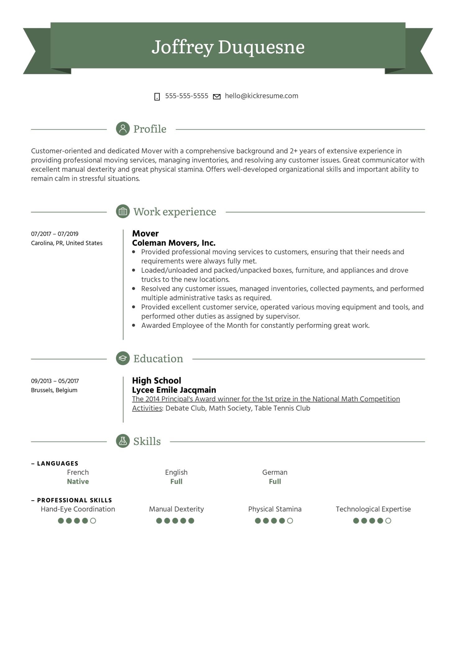 Mover Resume Sample (Teil 1)