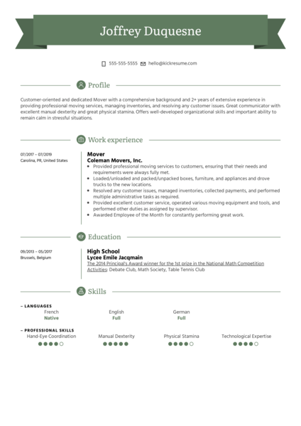 Mover Resume Sample