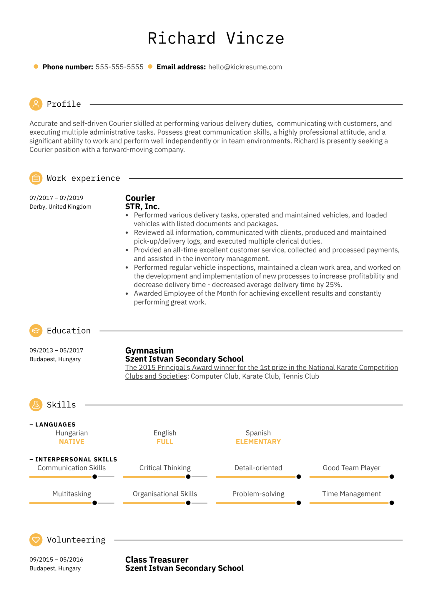 Courier Resume Sample (parte 1)