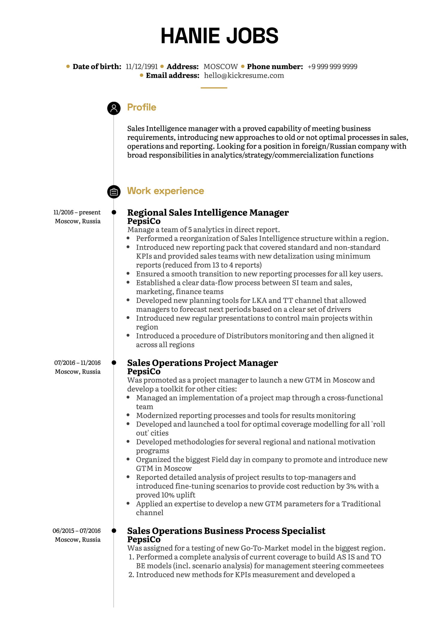 Pepsico Sales Intelligence Manager Resume Sample Kickresume