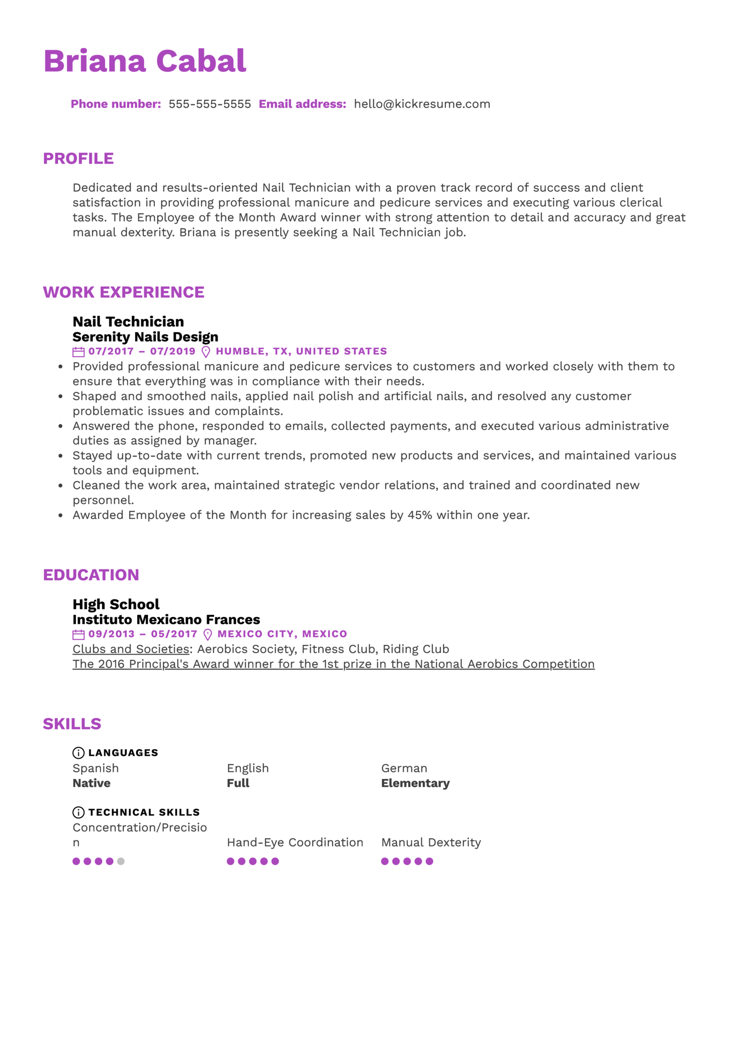 Nail Technician Resume Sample (Part 1)