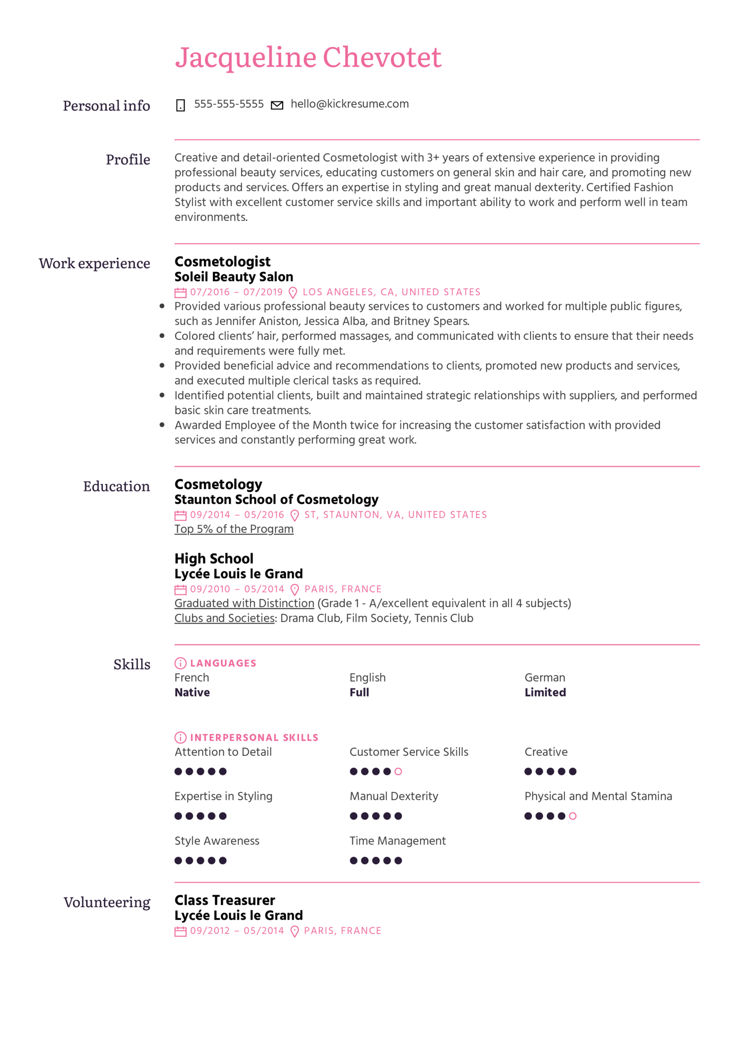 Cosmetologist Resume Example (parte 1)