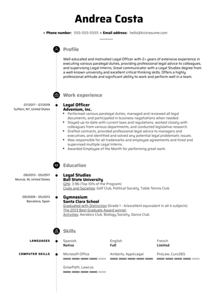 Legal Officer Resume Sample