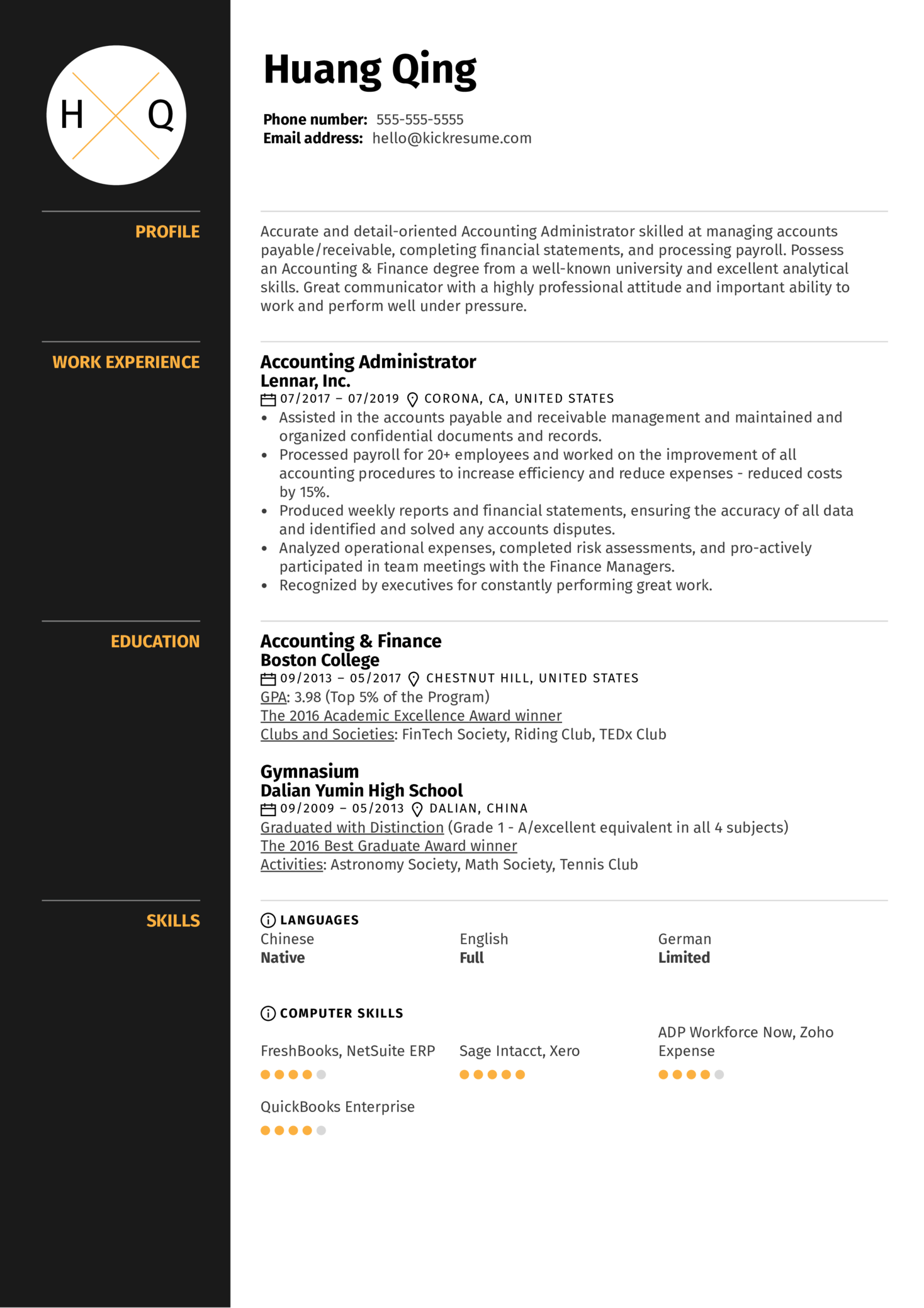 accounting administrator resume sample