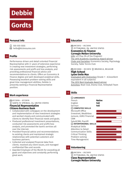 Financial Representative Resume Example