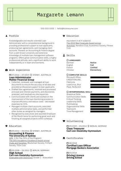 Loan Administrator Resume Example