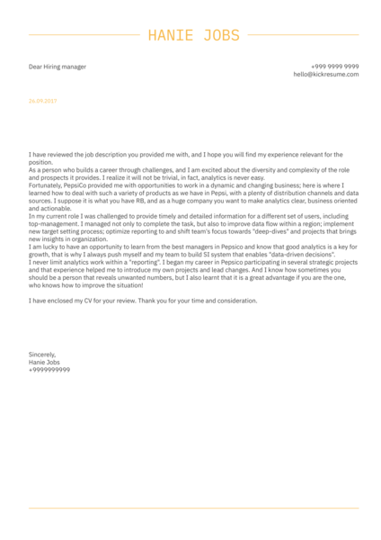 PepsiCo Sales Intelligence Manager Cover Letter Sample