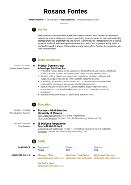 Product Demonstrator Resume Sample