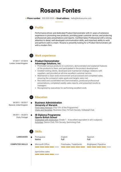 Product Demonstrator Resume Sample
