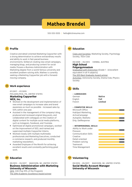 Marketing Copywriter Resume Sample