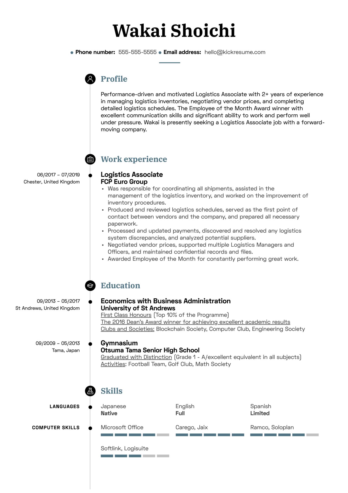 Logistics Associate Resume Sample