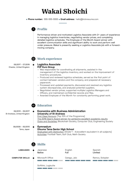 Logistics Associate Resume Sample
