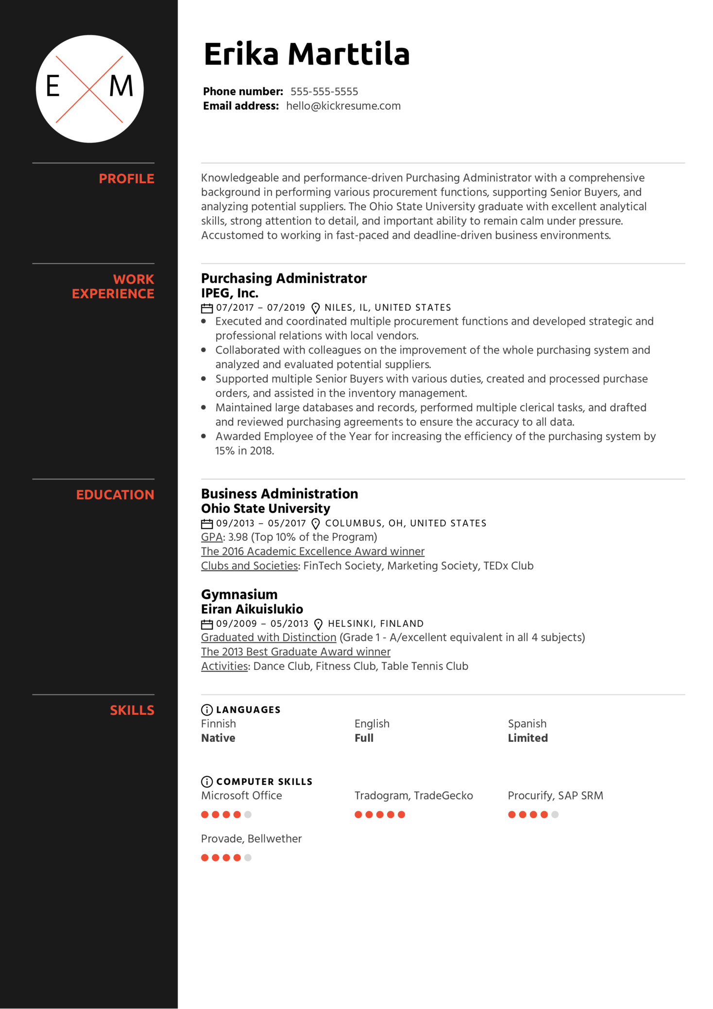 purchasing administrator resume example