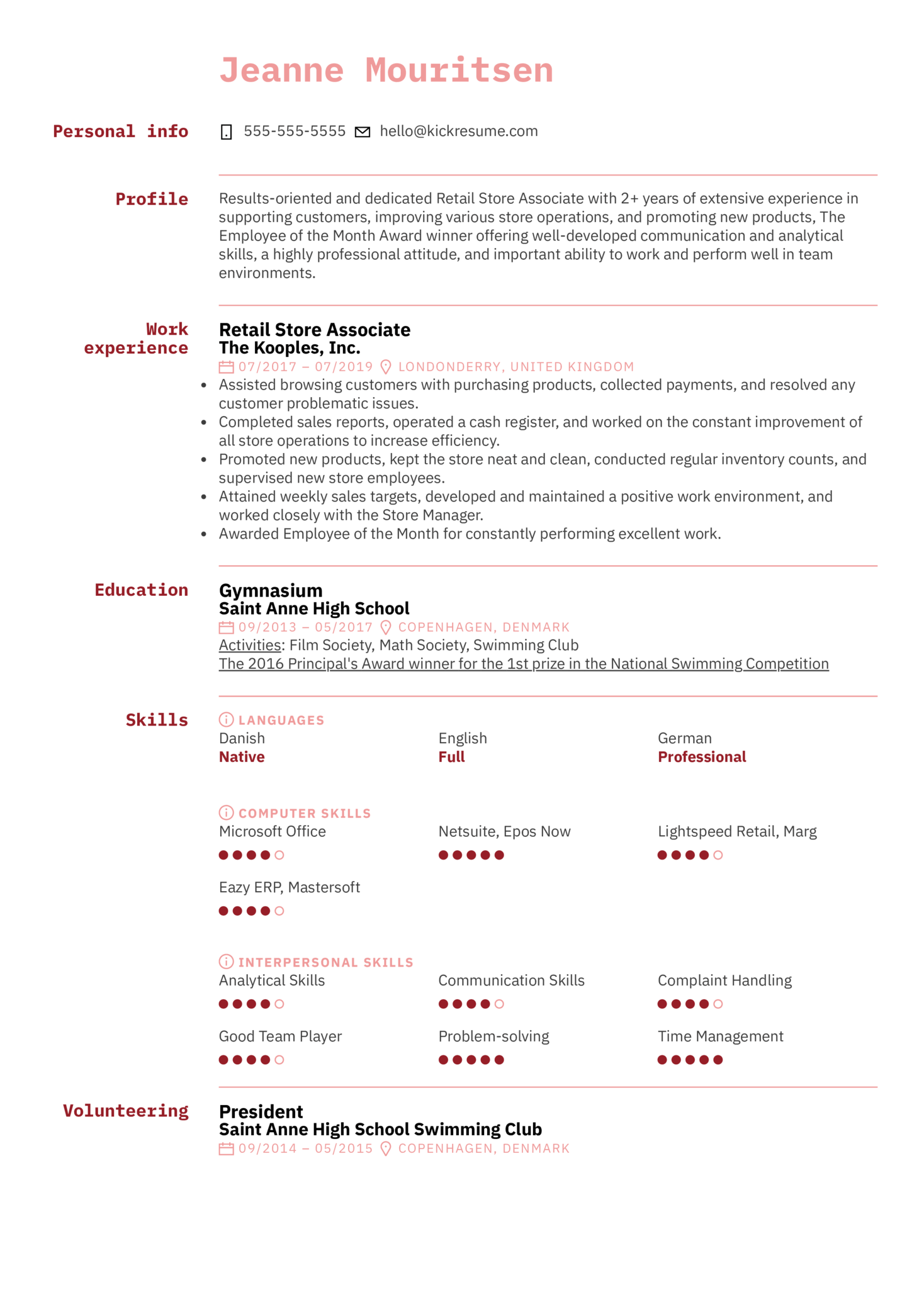 resume examples by real people  retail store associate