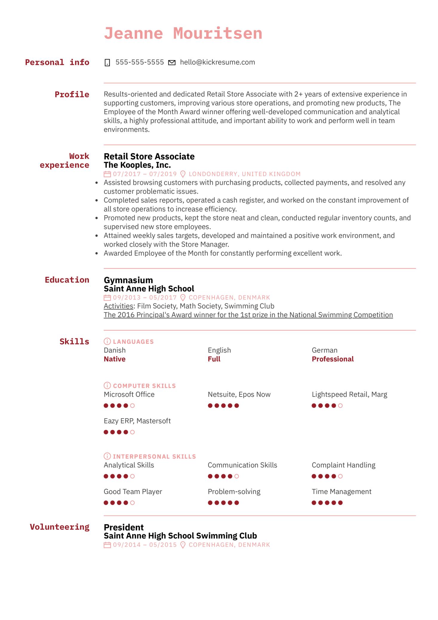 Store Associate Resume Sample