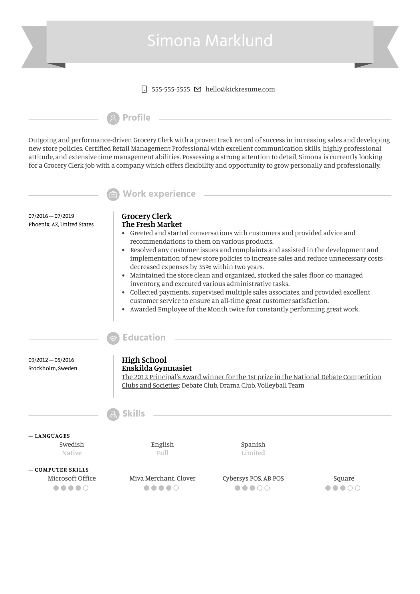 Grocery Clerk Resume Example (Part 1)