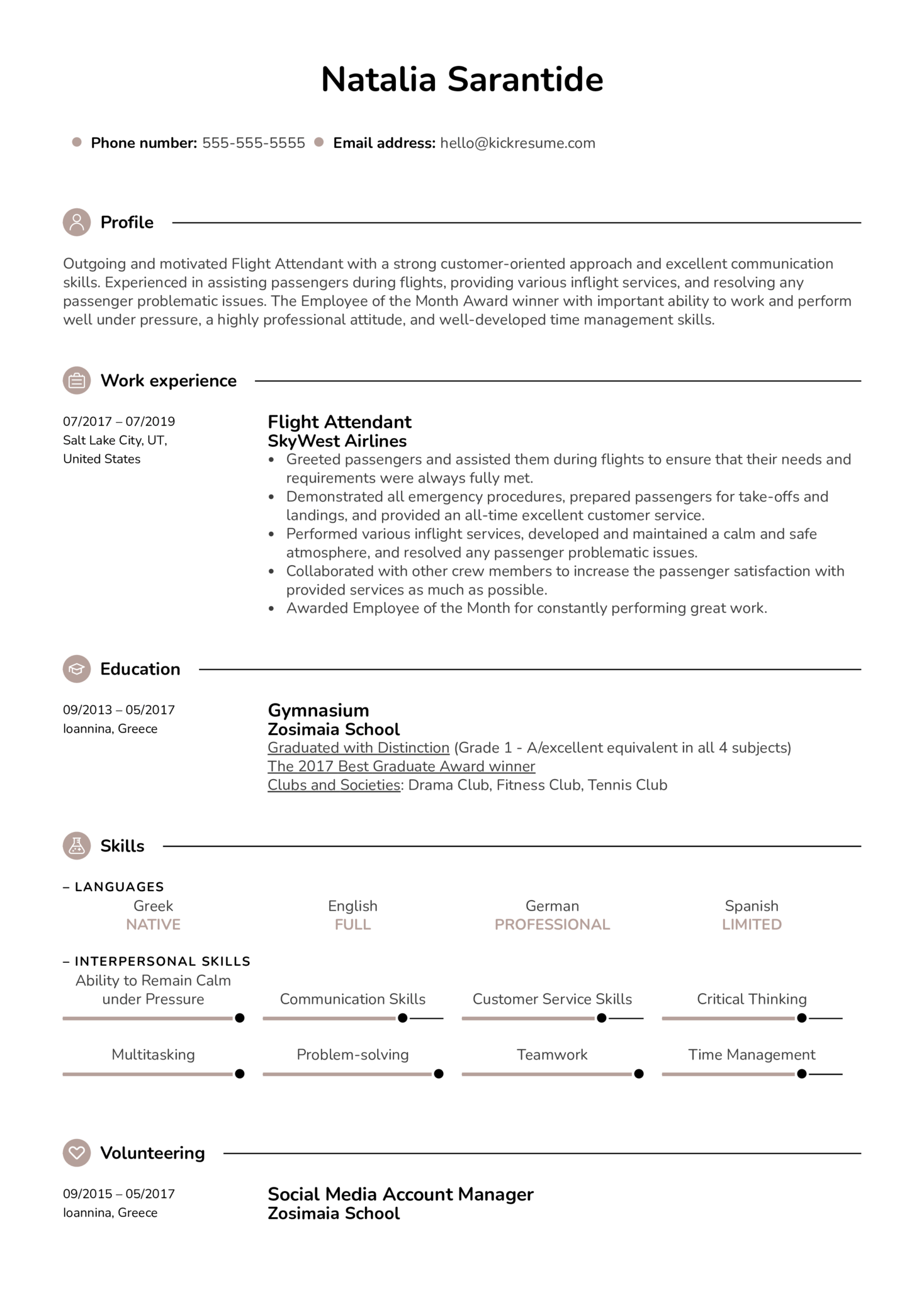 resume examples by real people  flight attendant resume example