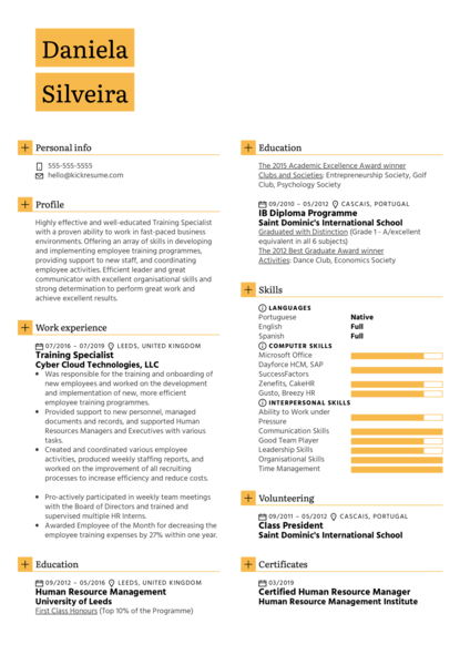 Training Specialist Resume Sample