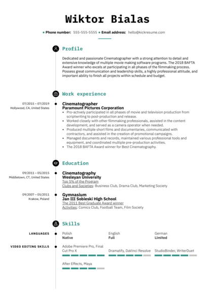 Cinematographer Resume Template