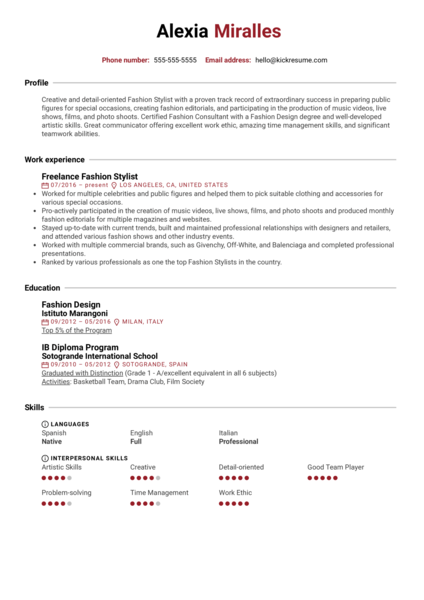 Fashion Stylist Resume Example