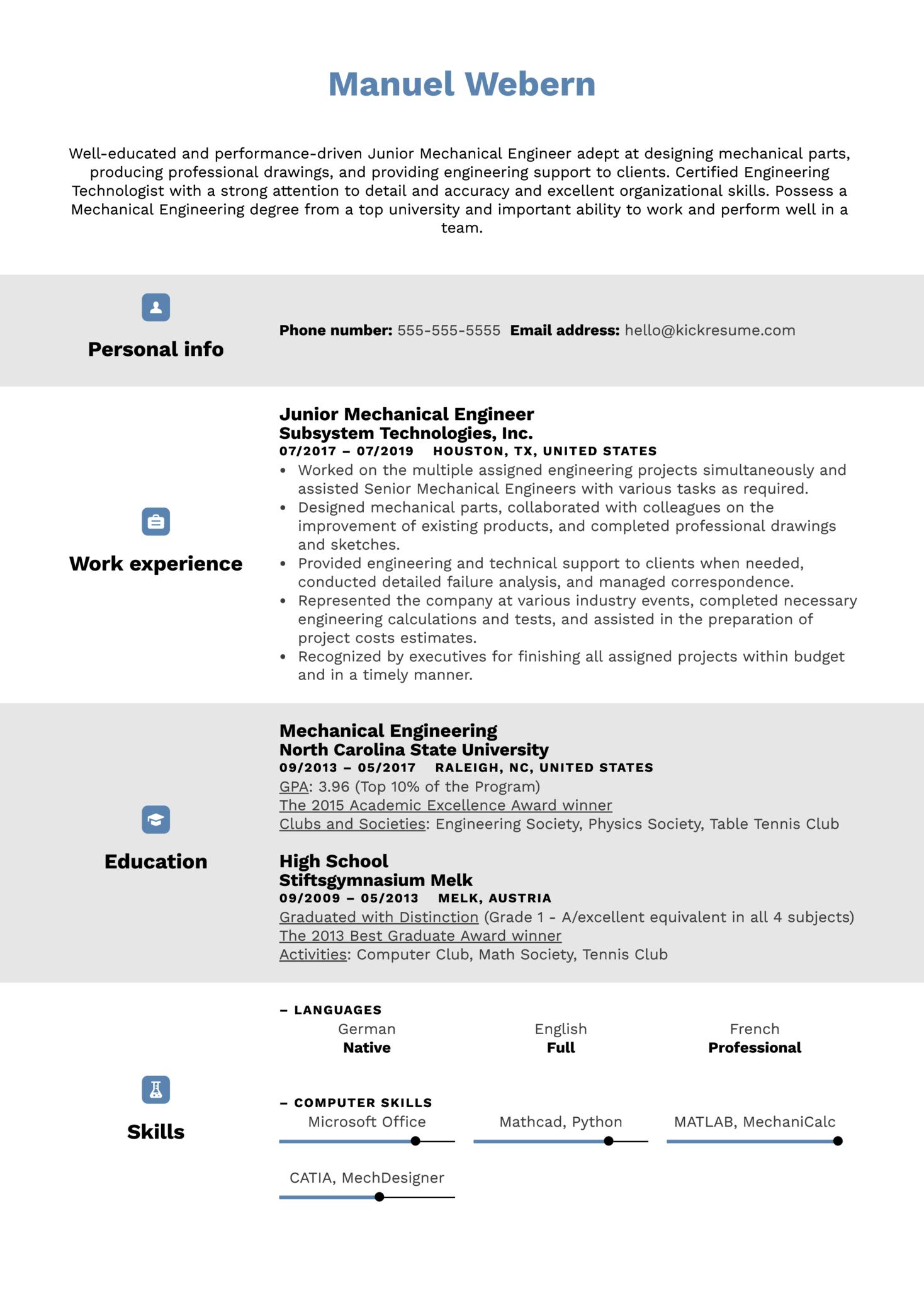 Junior Mechanical Engineer Resume Sample