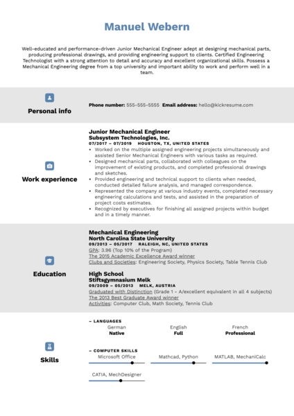 Junior Mechanical Engineer Resume Sample