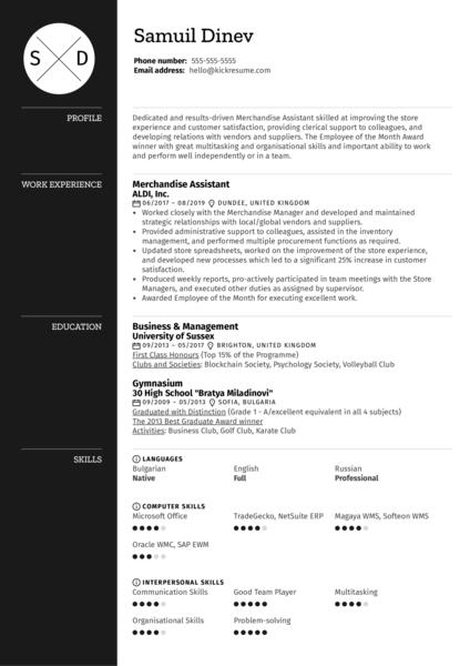 Merchandising Assistant Resume Sample Kickresume