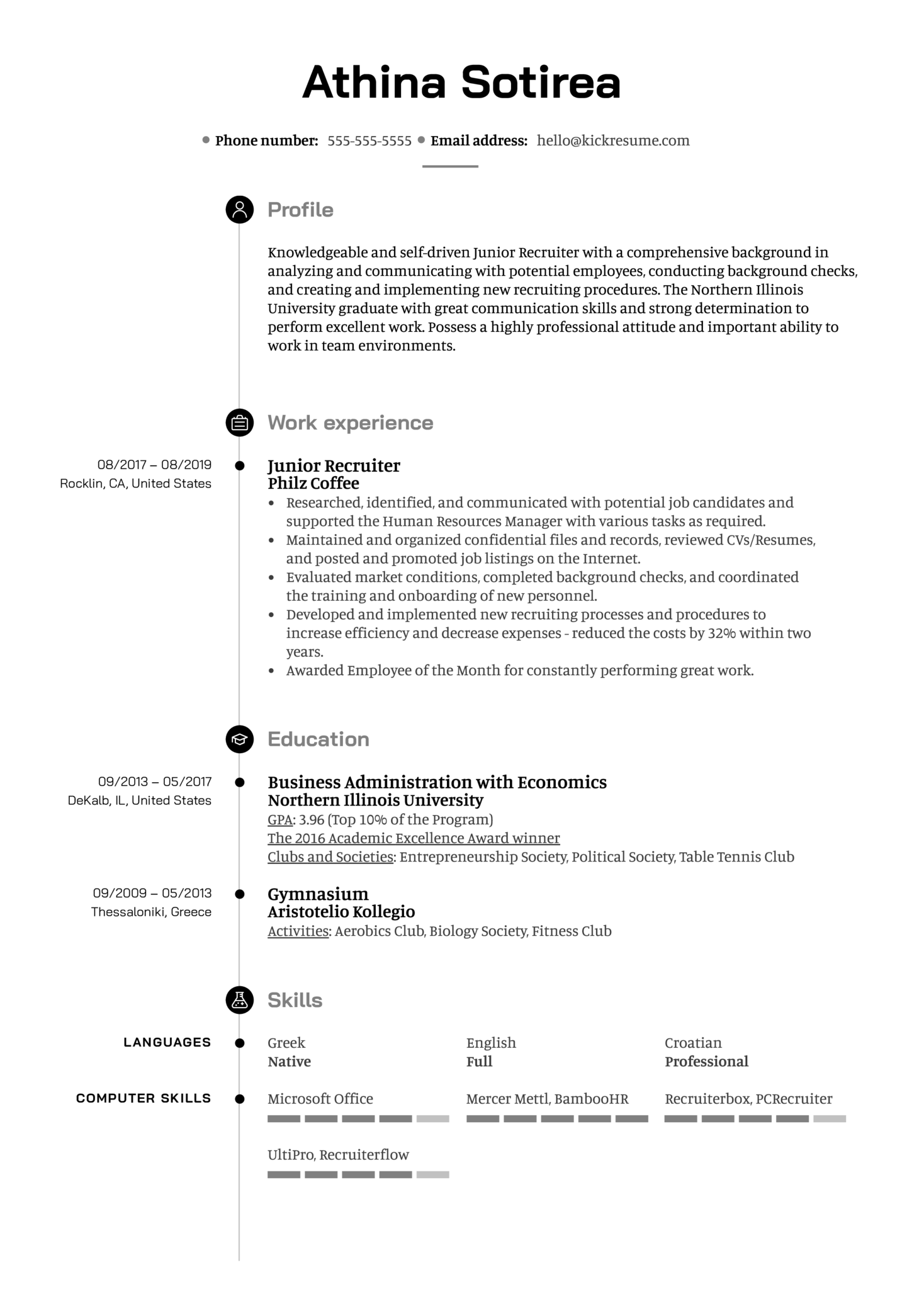 Junior Recruiter Resume Sample (parte 1)