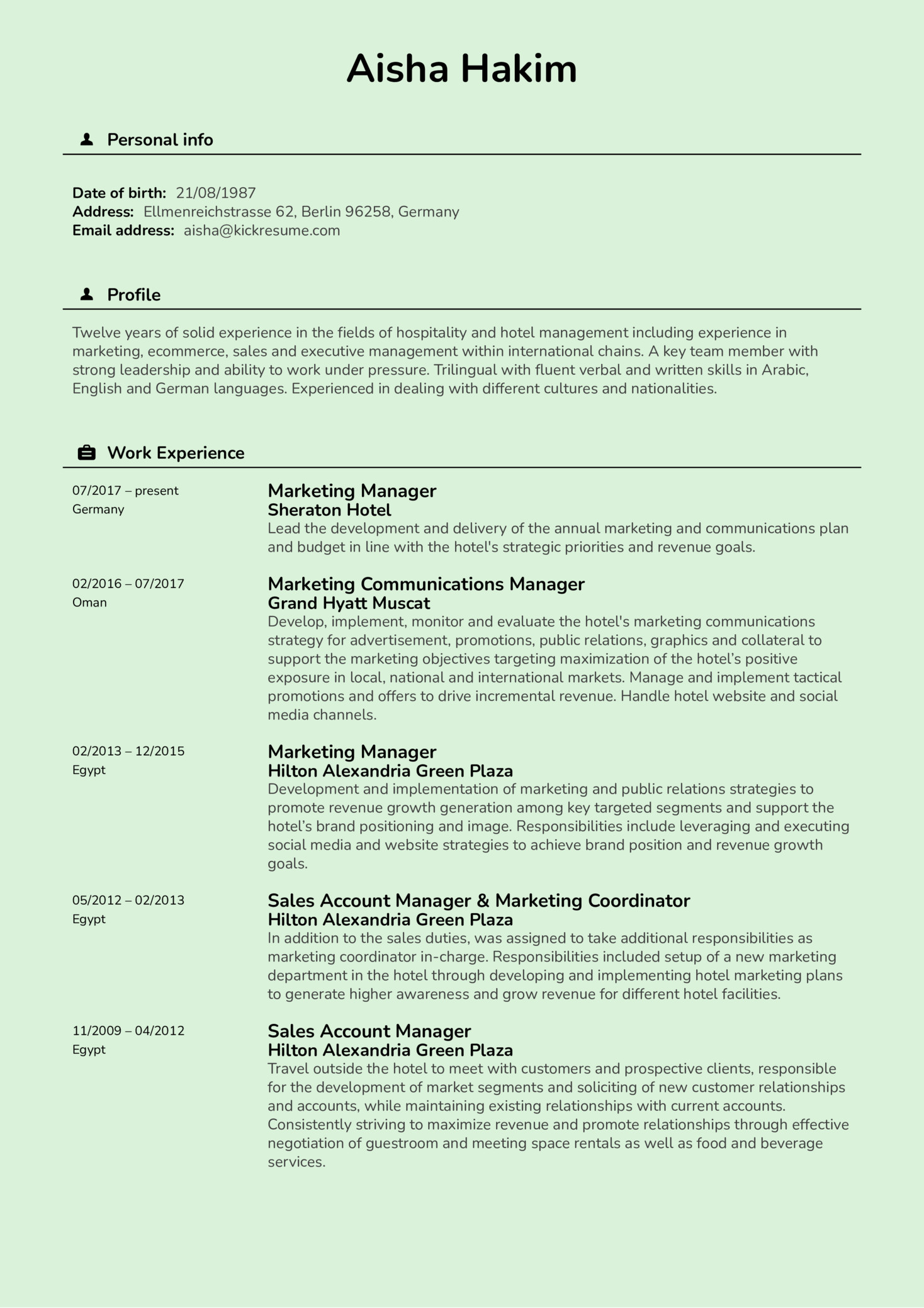 Resume Examples by Real People: Sheraton hotel marketing manager ...