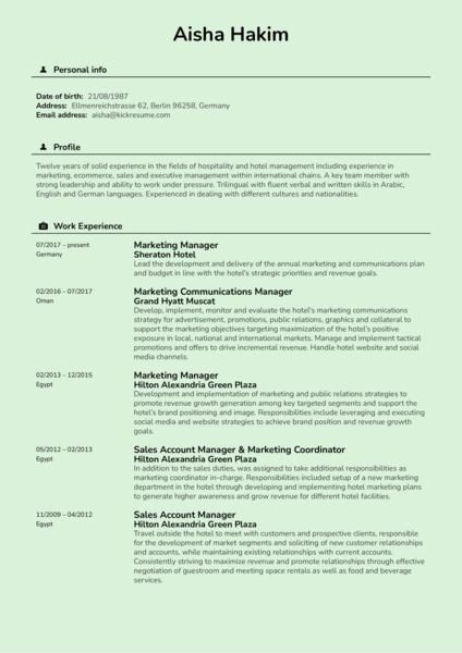 Sheraton Hotel Marketing Manager Resume Sample