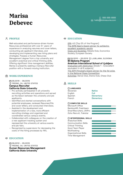 Campus Recruiter Resume Example