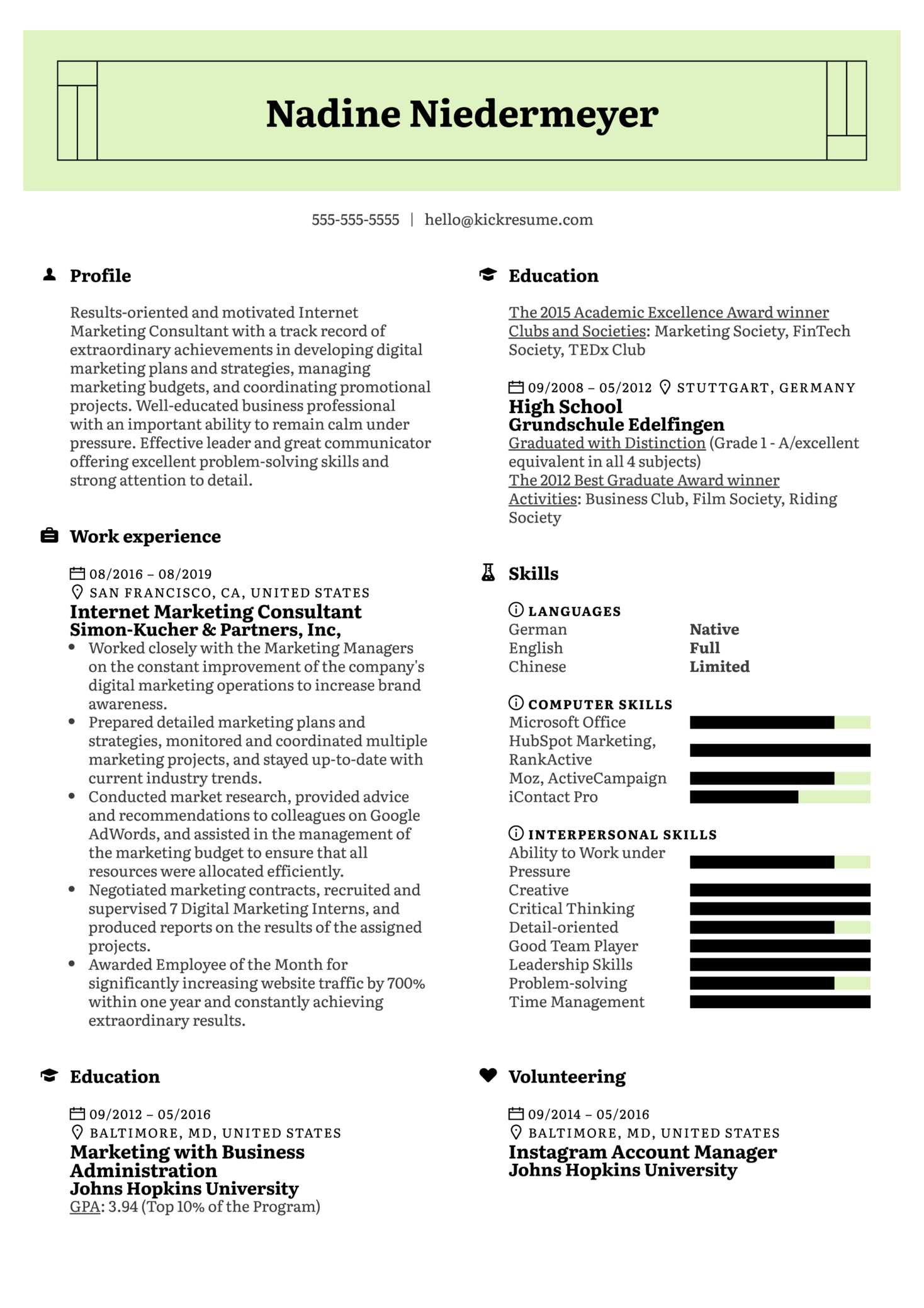 resume examples by real people  internet marketing consultant resume example