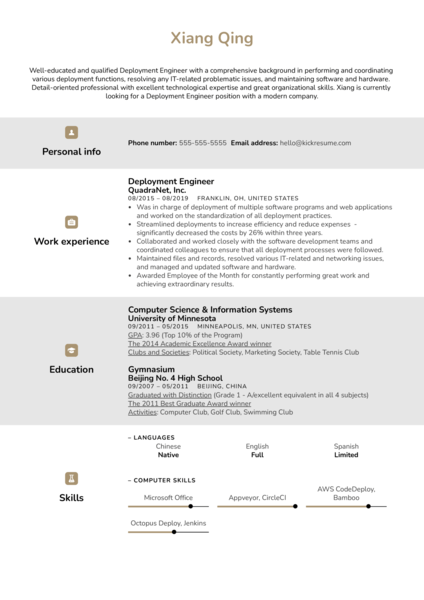 Deployment Engineer Resume Sample