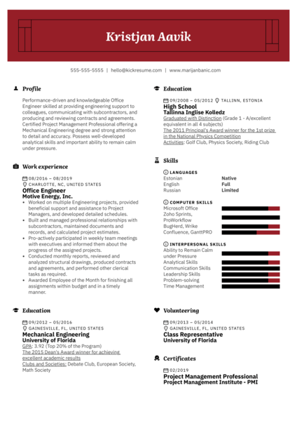 Office Engineer Resume Sample