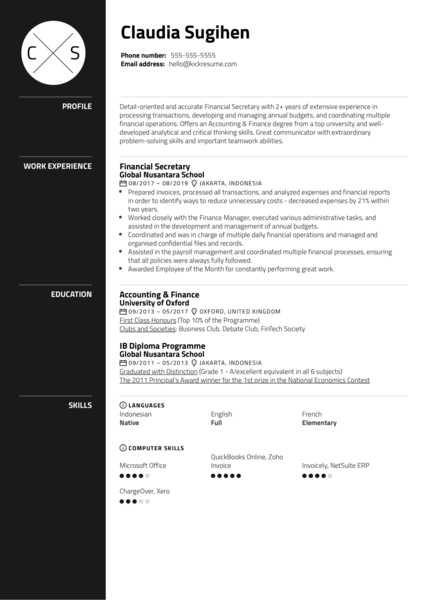 Financial Secretary Resume Example