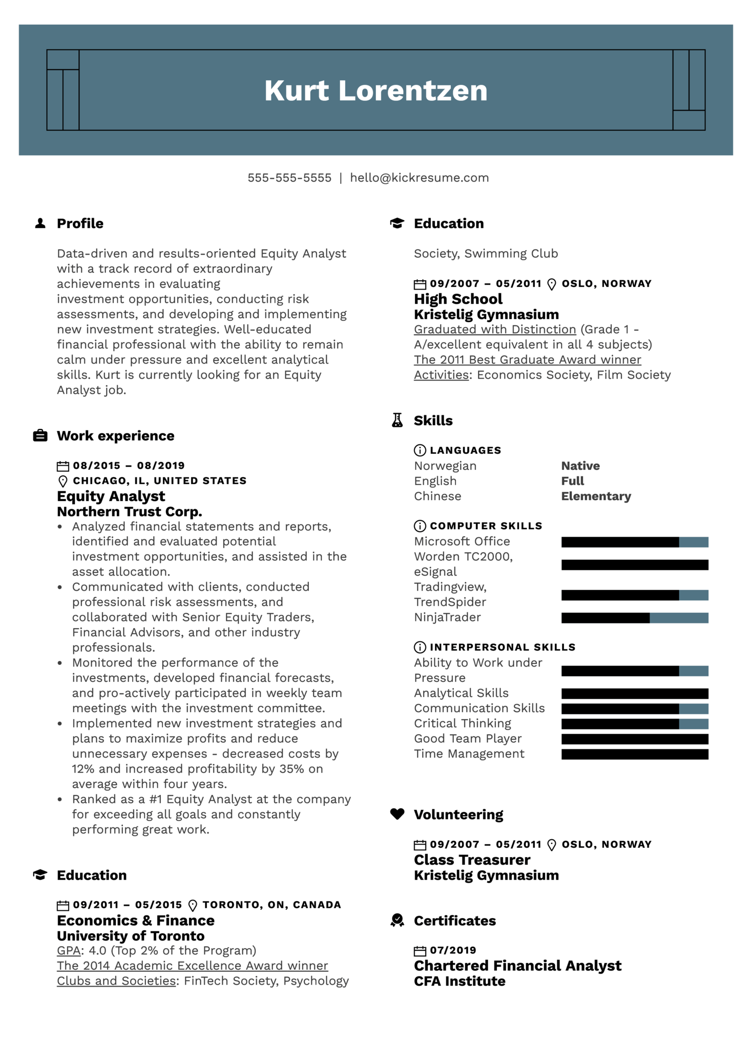 Equity Analyst Resume Example (parte 1)
