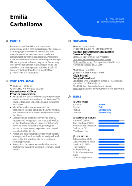 Recruitment Officer Resume Sample