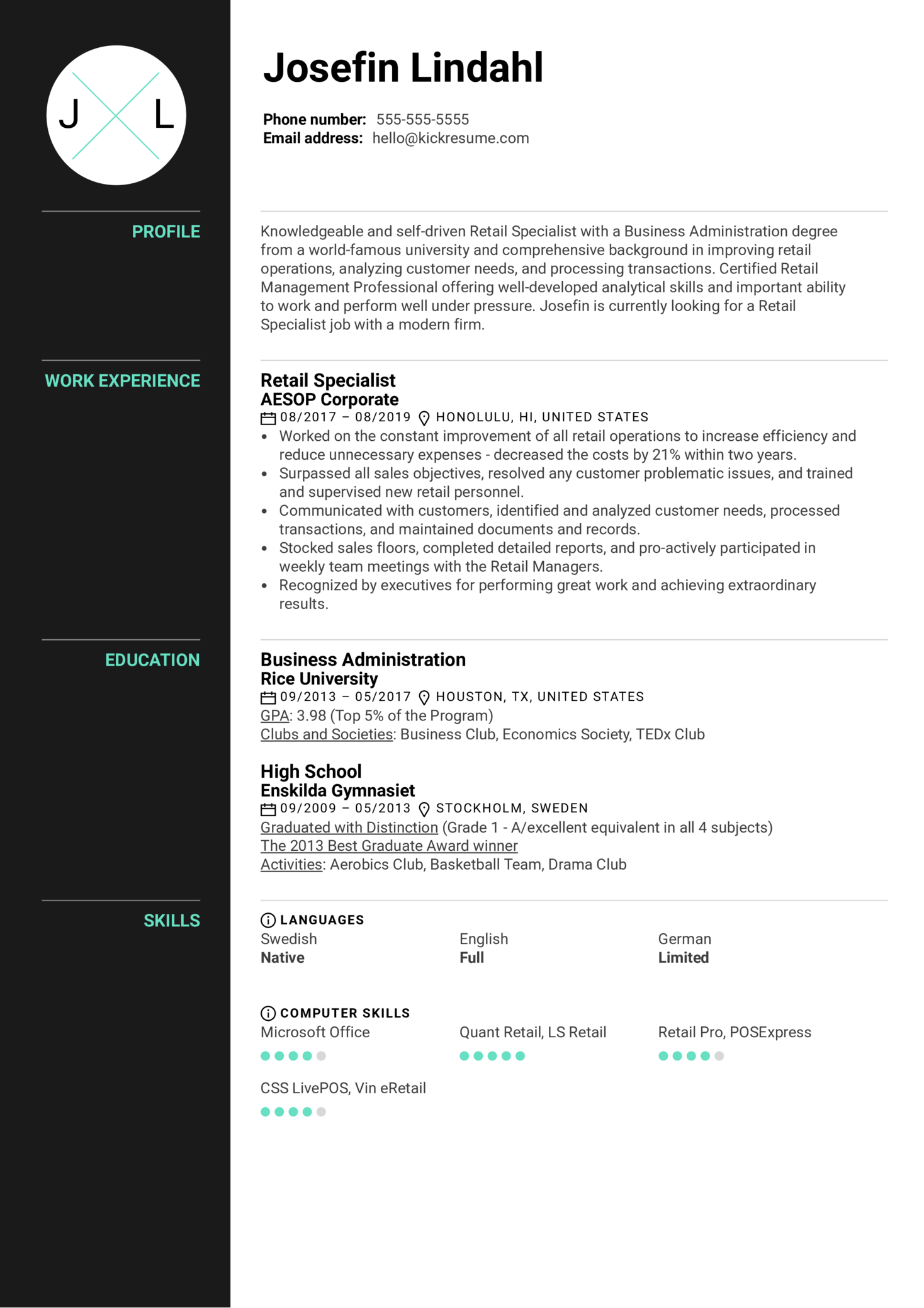 Resume Examples by Real People: Retail Specialist Resume ...