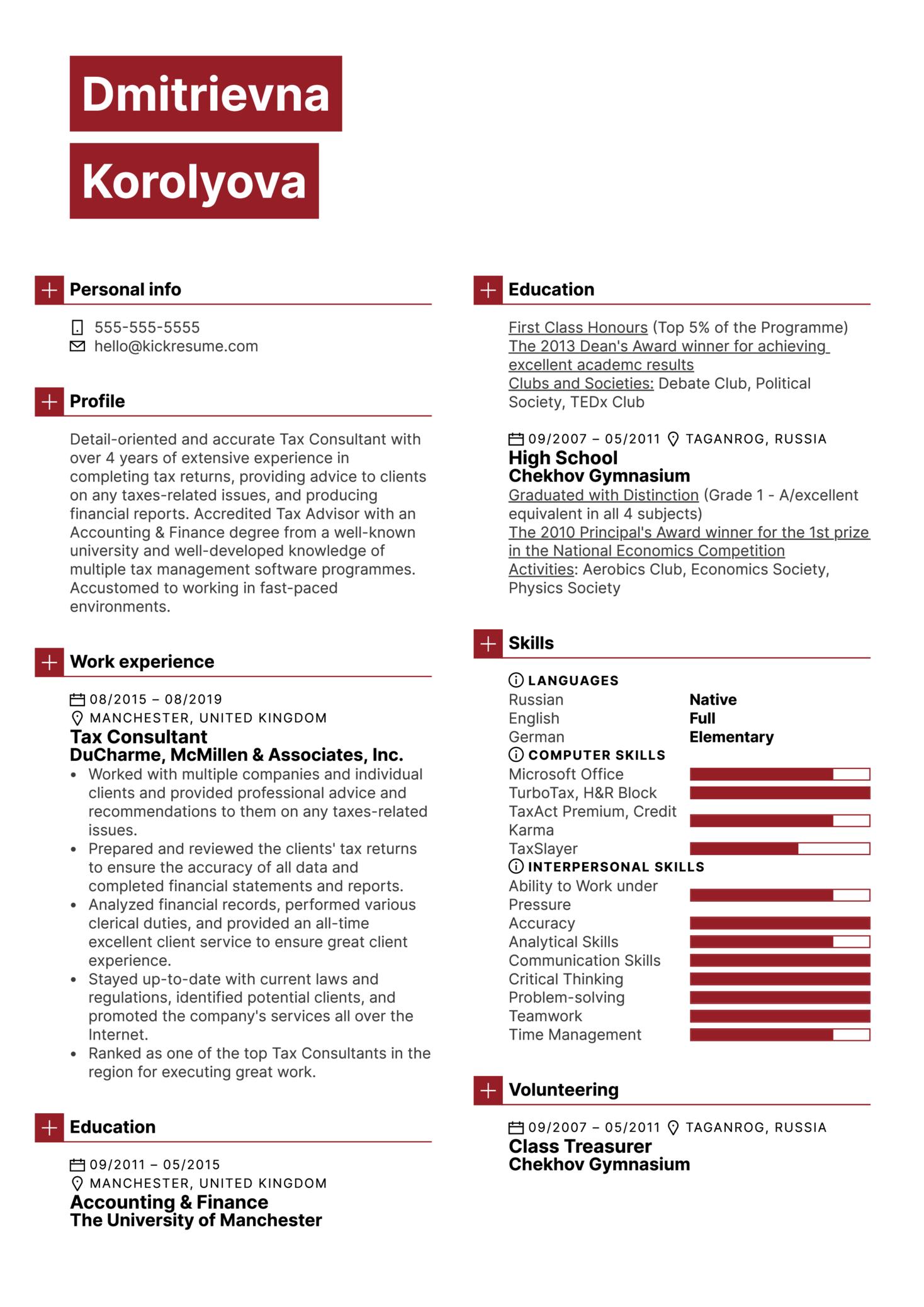 Tax Consultant Resume Template (Parte 1)