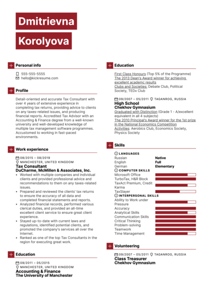 Tax Consultant Resume Template