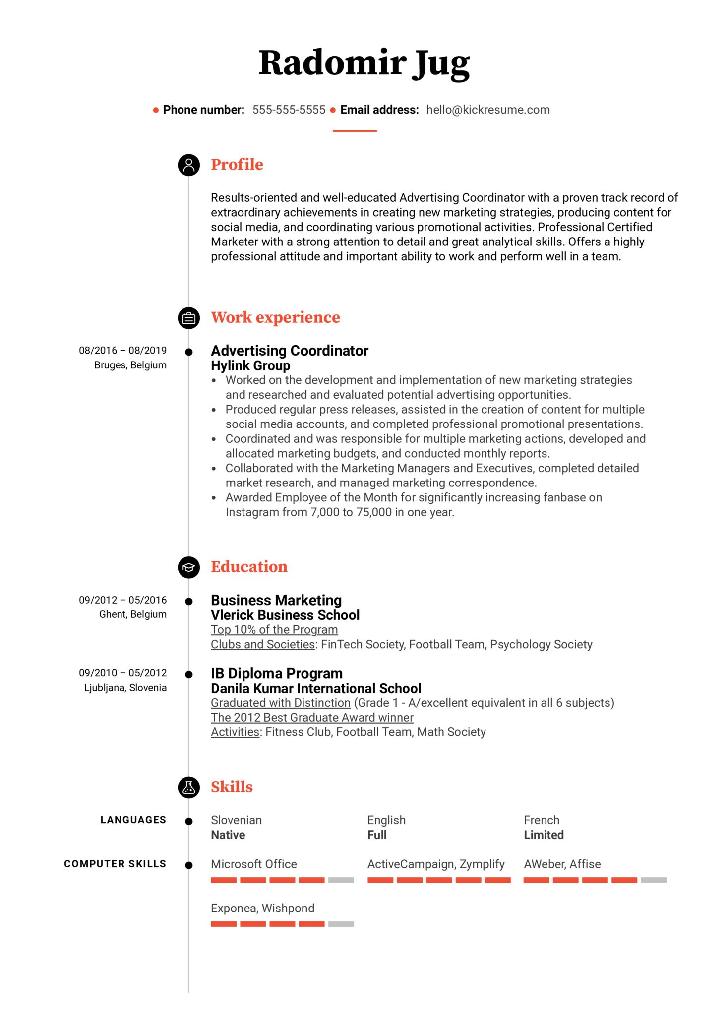 Advertising Coordinator Resume Example