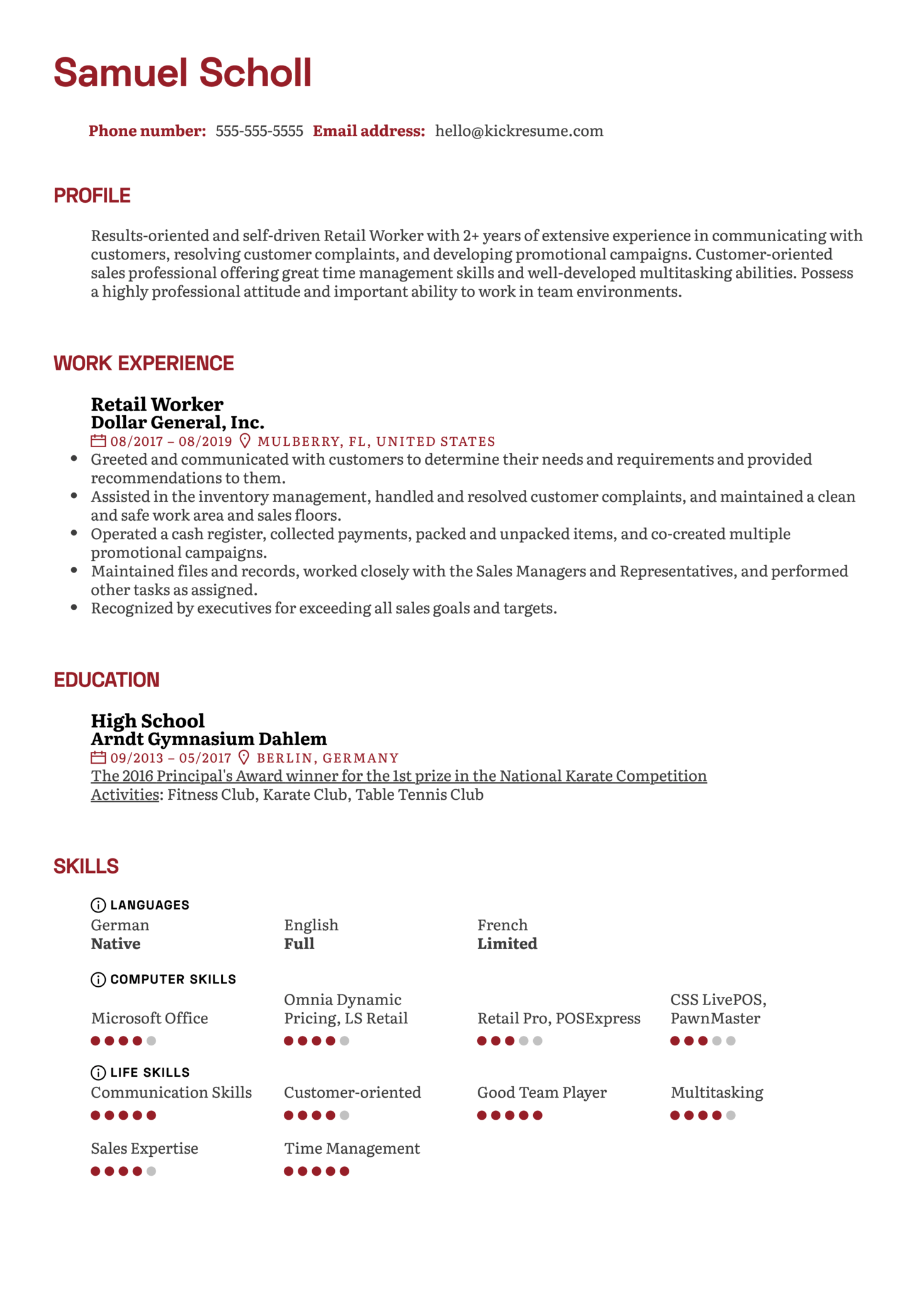 Retail Worker Resume Example (Part 1)