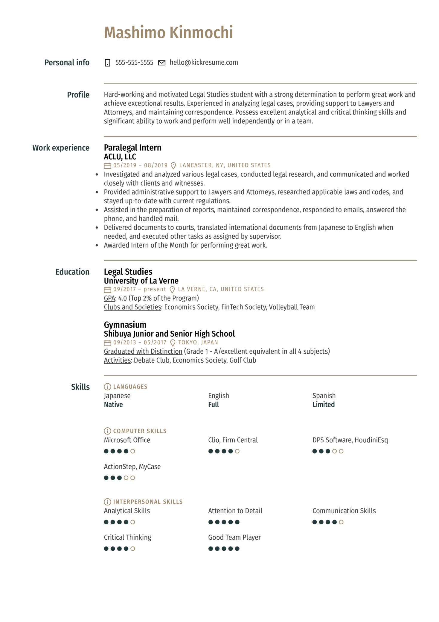 Paralegal Intern Resume Example (Teil 1)