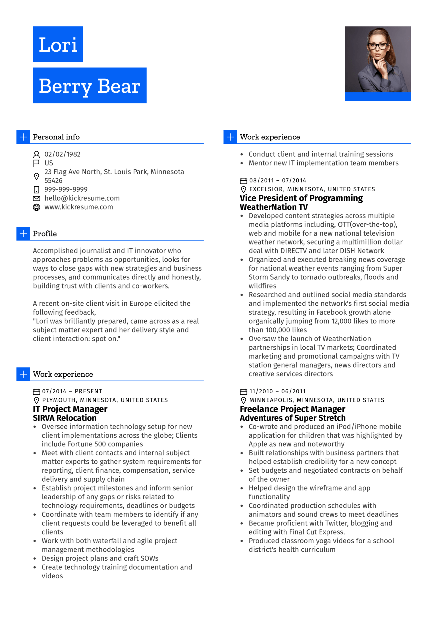 resume examples by real people  project manager  journalist cv sample