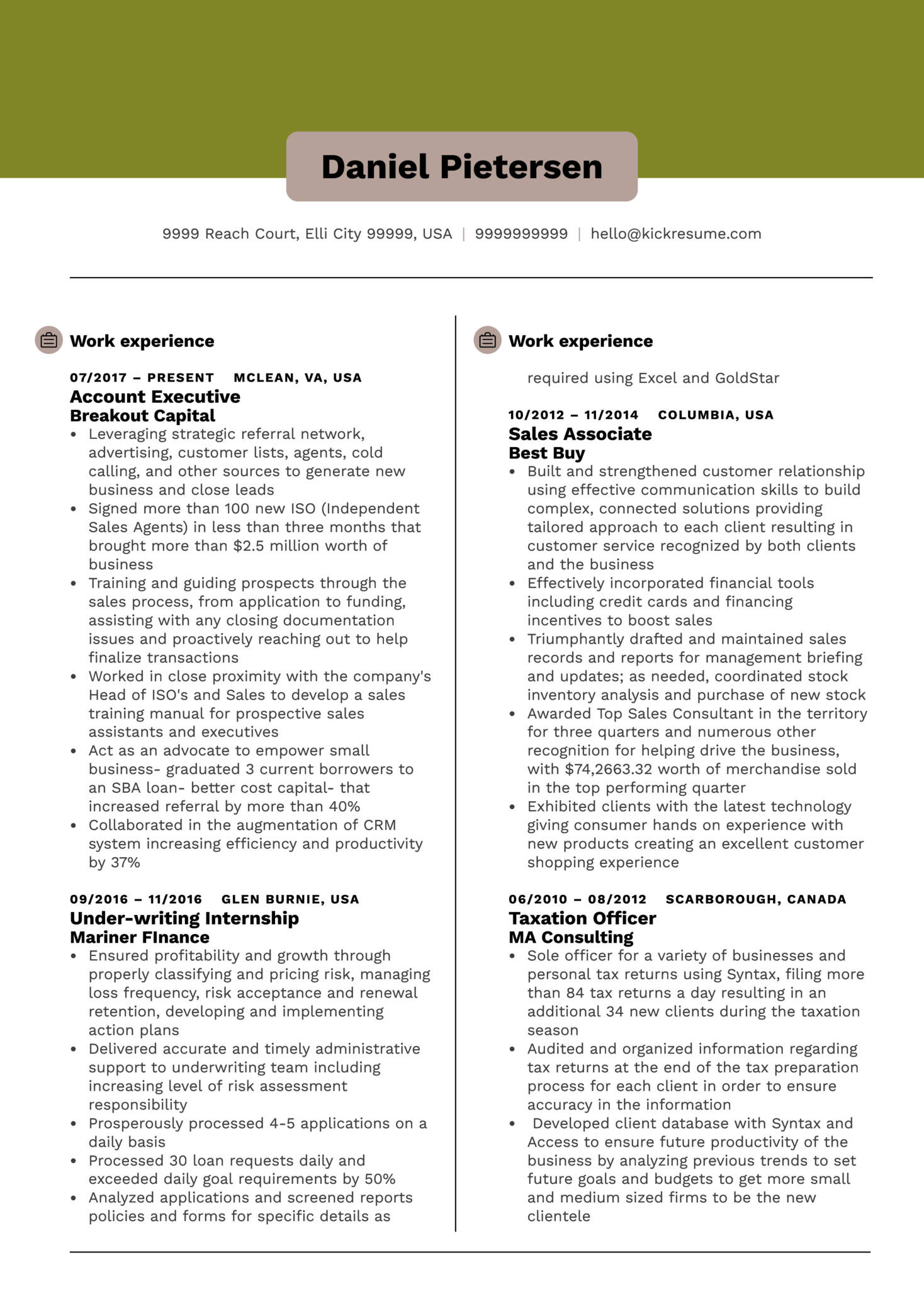 resume examples by real people  account executive resume