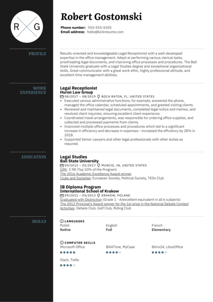 Legal Receptionist Resume Template