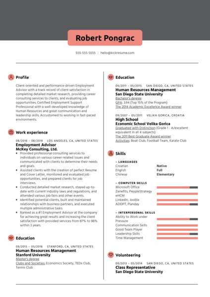 Employment Advisor Resume Sample
