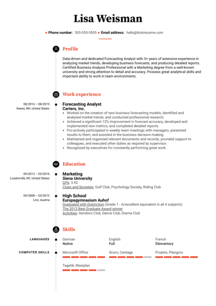 Forecasting Analyst Resume Example