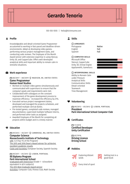 Game Programmer Resume Example